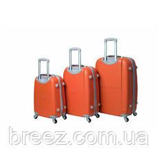 Чемодан Bonro Smile  набор 3 штуки с двойными колёсами оранжевый, фото 2