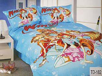 Детское сатиновое постельное белье Elway 3D TD-182 «Клуб Винкс голубой»