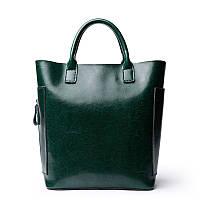 Жіноча шкіряна сумка містка зелена, фото 1