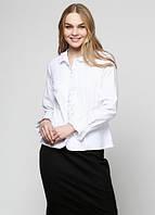 Белая женская офисная блузка с рюшами Р22