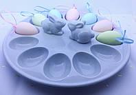 Блюдо для яиц 12 шт с зайками серое Ewax 5305