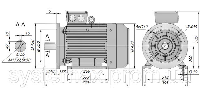 АИР200М2 / АИР 200 М2 / IM 2081 / IM2081 / комб / комбинированный / фланцевый / 37 кВт / 3000 об/мин