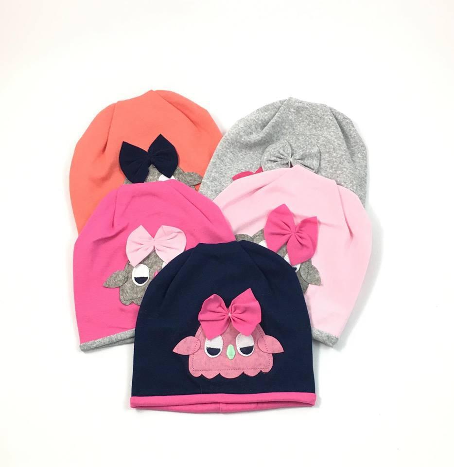 Детская трикотажная шапочка для девочки Сова (ОГ 46-48)