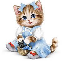 Котенок голубой в платье (полная выкладка) 20*20 см
