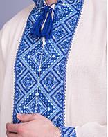 Мужская вышитая сорочка крестиком, синяя вышивка, фото 1