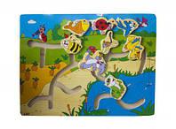 Деревянная развивающая игрушка лабиринт Лужайка Руди Р54у-1