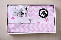 Постель в детскую кроватку «Звездные шевроны/ милый розовый»