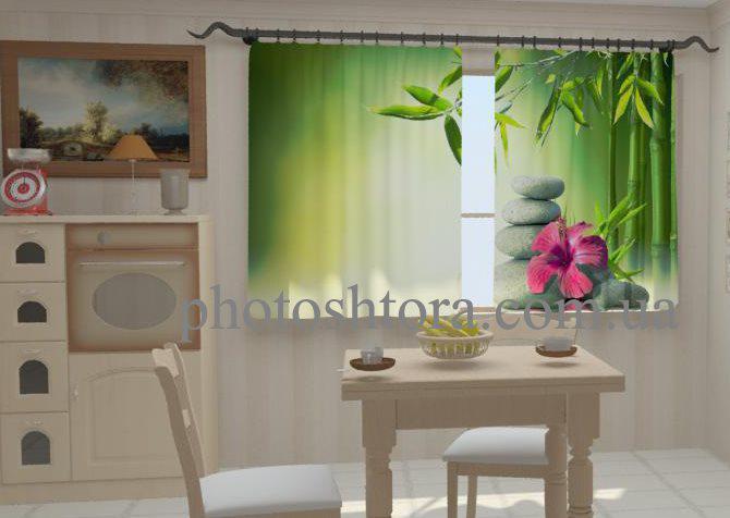 Фотошторы Листья бамбука в кухне