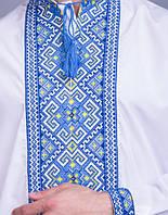 Мужская вышиванка на три нити, синяя вышивка, фото 1