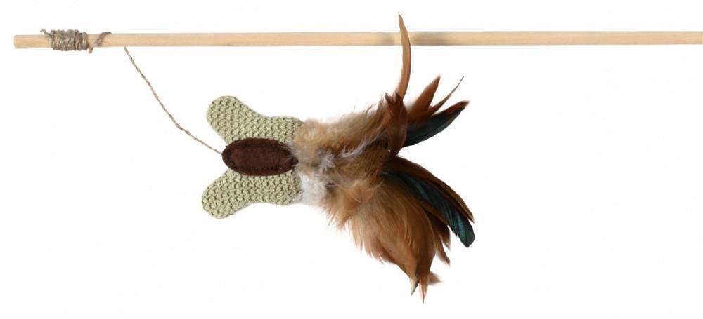 Метелик з м'ятою і пір'ям на вудочці 45 см для кішок Trixie