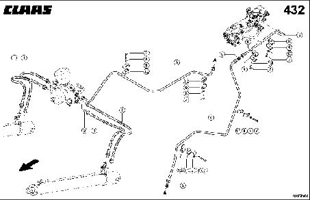 HYDRAULIC LINES, HEADER DAMPING - CLAAS TUCANO 330 / 320