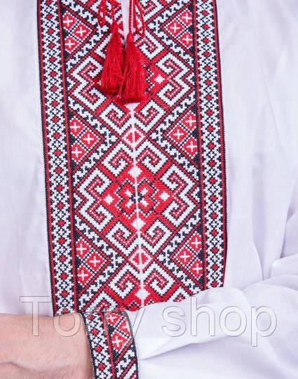 Мужская вышиванка c красным орнаментом