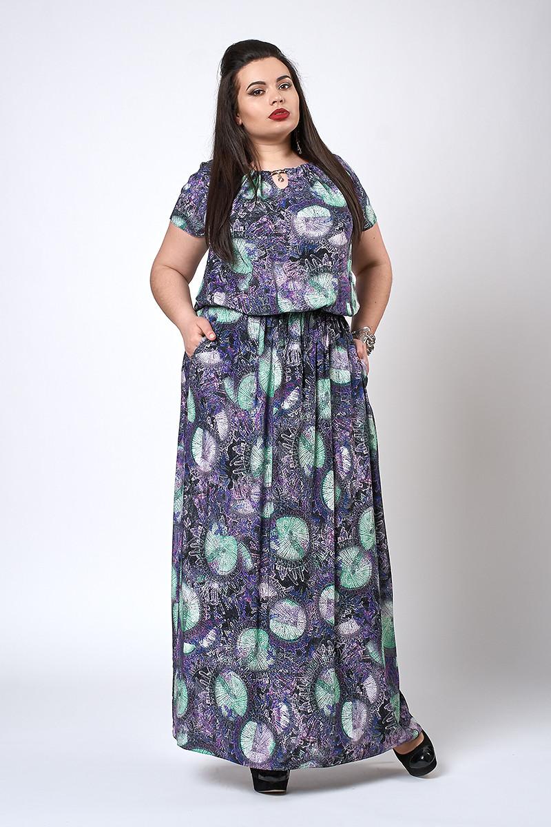 Платье мод №504-5, размер 52-54 зелено-синее шары