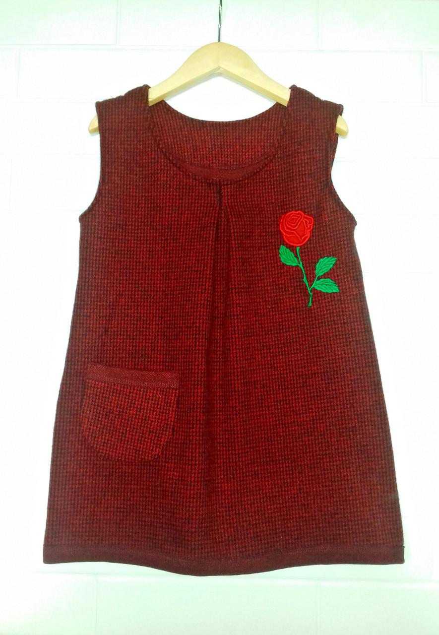 Теплый весенний сарафан для девочки с вышивкой