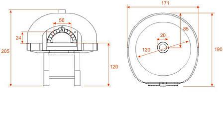 Піч для піци на дровах D120K Silicone Asterm (Болгарія), фото 2