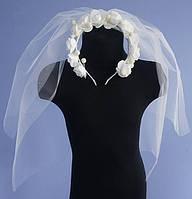 Фата невесты с розами маленькая