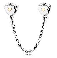 """Серебряная подвеска шарм Пандора  """"Соединительная цепочка сердце и корона"""""""