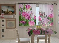 """Фотошторы и скатерть на кухню """"Розовые нотки в кухне"""""""