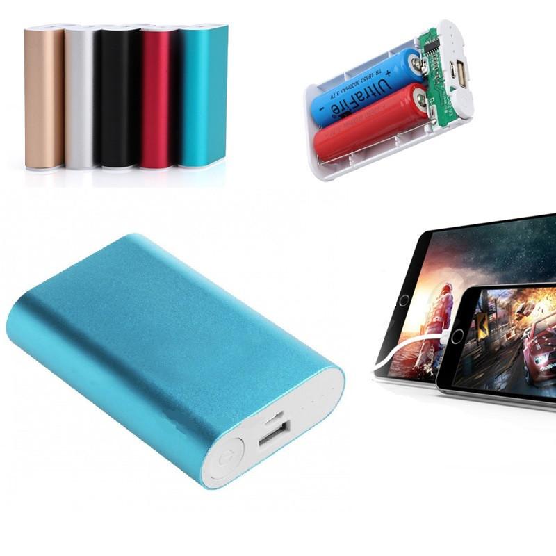 Power Bank 4500 mAч, металл 2х USB + 2x 18650 аккумулятора