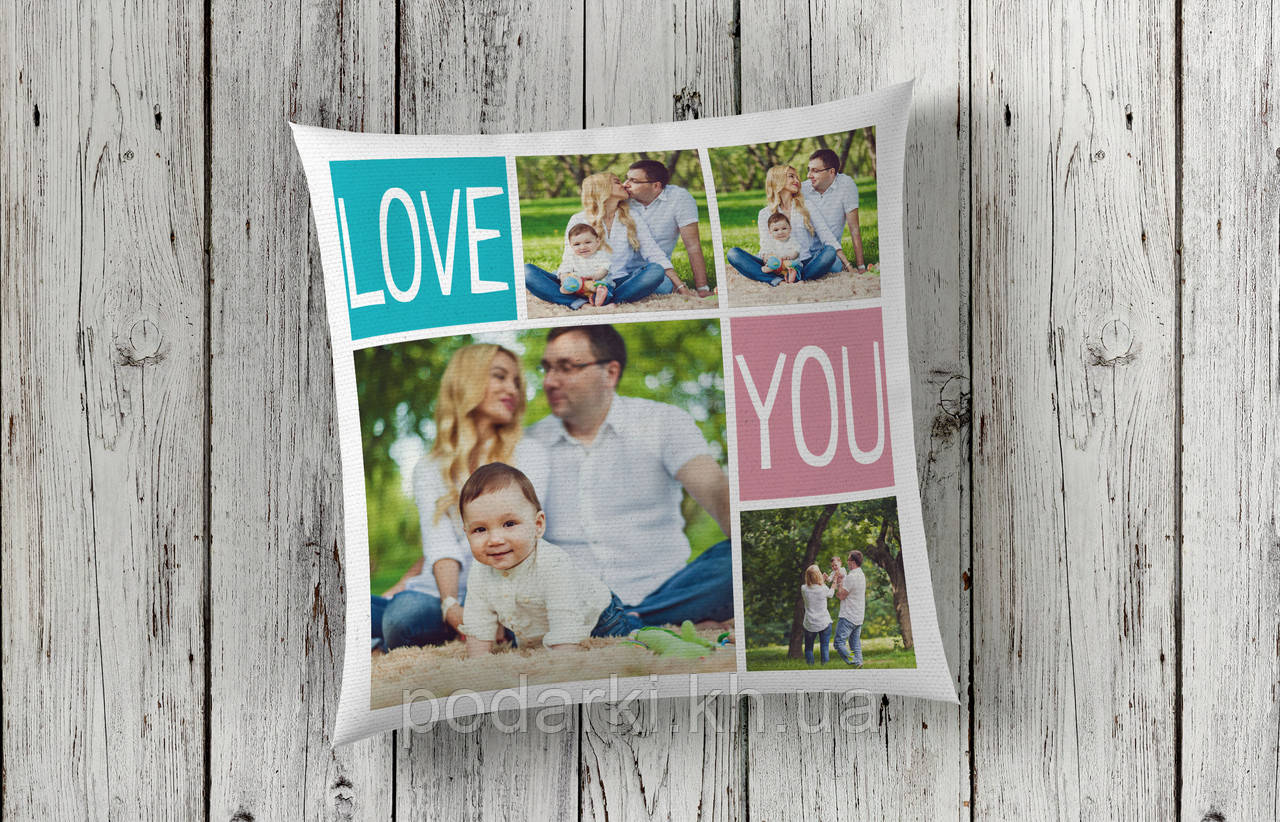 Подушка с фотографиями коллаж 4 фото