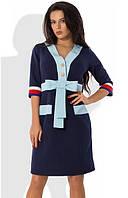 Темно-синее платье с голубым кантом Д-1049