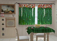 """Фотошторы и скатерть на кухню """"Ламбрекены из цветов 2"""""""