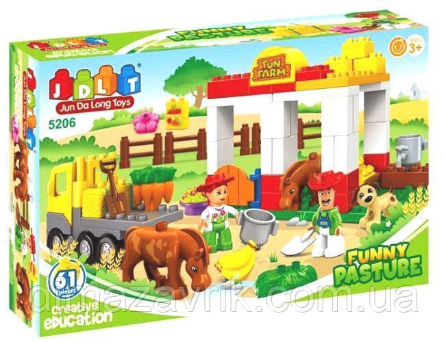 """Конструктор JDLT 5206 (Аналог Lego Duplo) """"Веселая ферма"""" 61 деталь"""