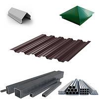 Комплектующие для забора из профнастила и металлопрофиля | Колпаки, парапеты и столбы для заборов