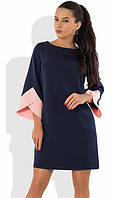 Темно-синее платье с оригинальными рукавами Д-1052