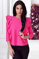 Женская блузка с рюшами и пуговицами на спине