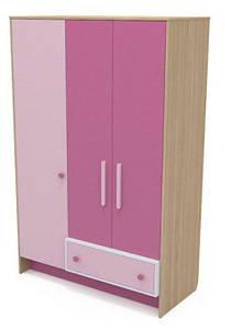 Трехдверный шкаф Кв-03 Акварели розовые