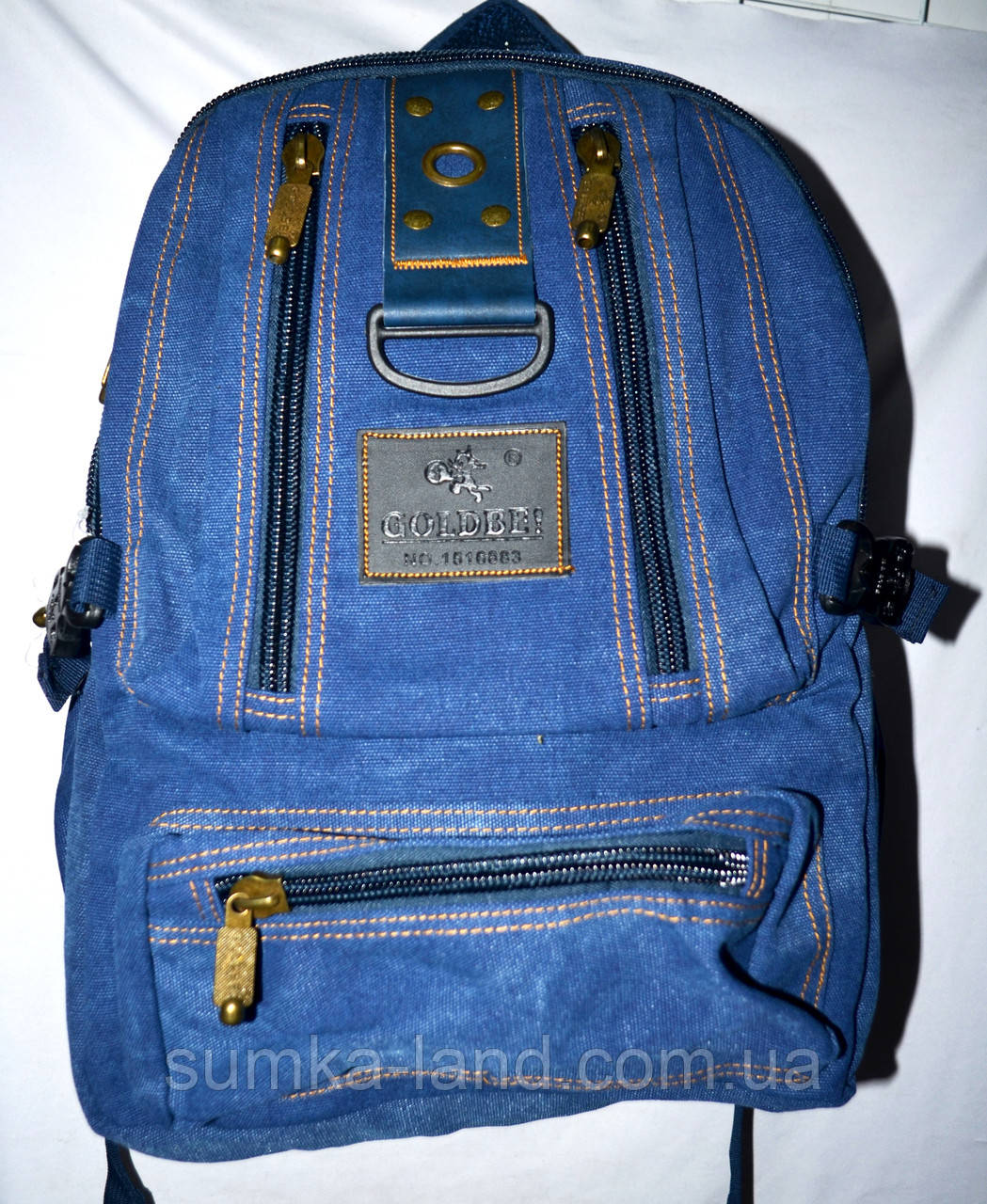 Брезентовый синий рюкзак городской 28*41 см