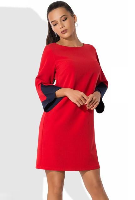 Красное платье с оригинальными рукавами Д-1053