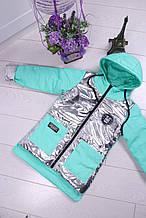 Куртка демисезонная с капюшоном на девочку мята с серебром размер 122 128 134 146 152