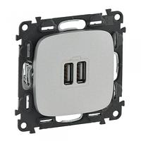 Valena ALLURE Розетка USB для зарядки подвійна Алюміній