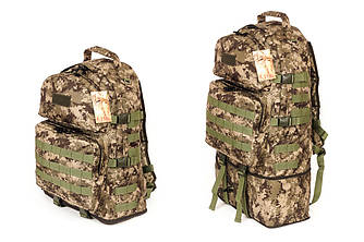 Тактический туристический крепкий рюкзак трансформер 40-60 литров пиксель