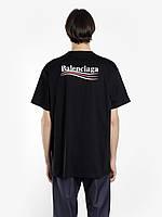 Футболка Balenciaga черная с логотипом, унисекс (мужская,женская,детская)