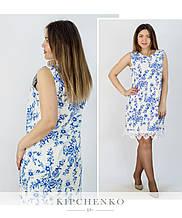 Платье с голубым узором 0103721 (р. 50-52, 54-56)
