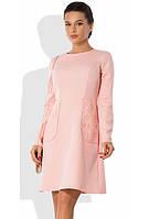 Розовое офисное платье с кружевными карманами Д-1055