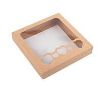 Коробка для пряников 150х150х30 мм., крафт, фото 1
