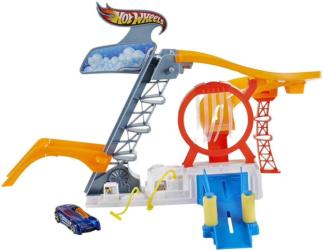 Трек Хот Вилс Лифт с автомойкой Гонка скорости Hot Wheels Rinse & Race Play Set