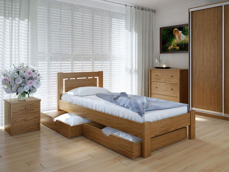 Кровать MeblikOff Осака с ящиками (90*200) дуб