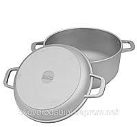 Кастрюля алюминиевая с утолщенным дном и крышкой сковородой 4 л. Биол К-402