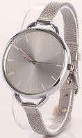 Женские кварцевые наручные часы серебристые с металлическим ремешком, фото 1