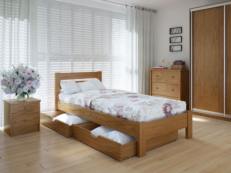 Кровать MeblikOff Эко плюс с ящиками (90*190) ясень
