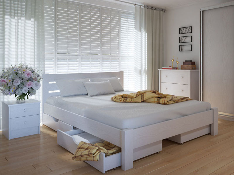 Кровать MeblikOff Эко плюс с ящиками (120*200) ясень