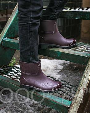Ботики женcкие силикон с лакированным носком, фото 2