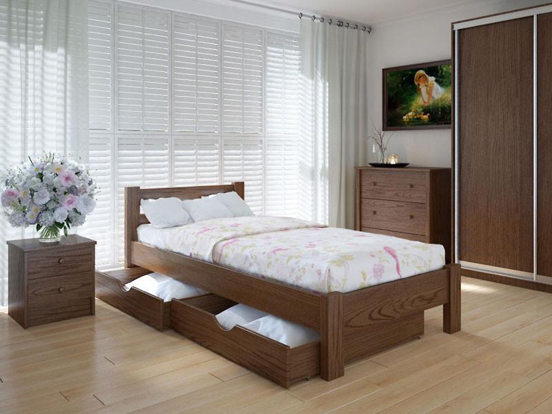 Кровать MeblikOff Эко с ящиками (90*190) дуб