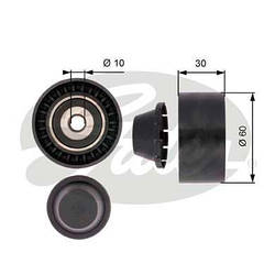 Направляющий ролик ремня генератора на Renault Dokker 2012->, 1.2 TCe — GATES (Бельгия) - T36380