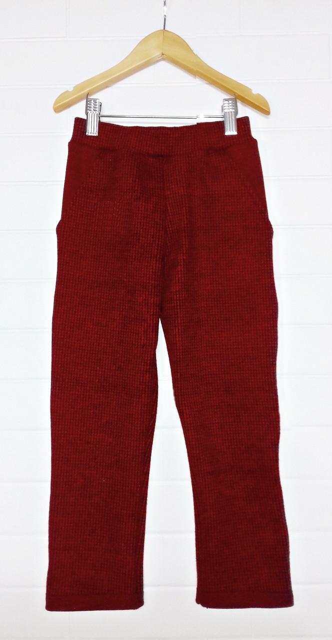 Весенние брюки на девочку из драпа бордовые